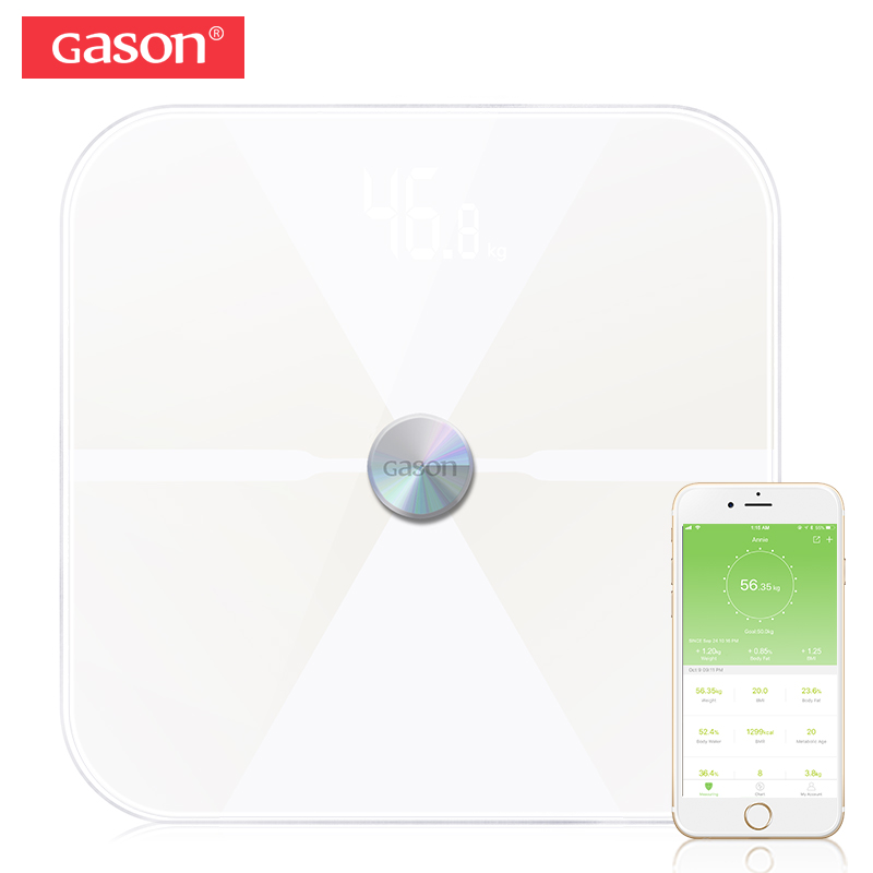 GASON T6 Piano Scientifico LED Elettronico Digitale Scala di Grasso Corporeo Peso Bagno Bilanci Domestici Bluetooth APP Android o IOS