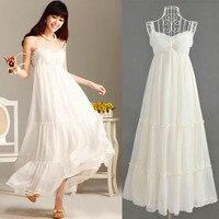 Pure white beach lace maternity dress Women Beach elegant Lace Chiffon Dress suspenders skirt Beach Resort free shipping