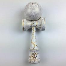 Минимальный заказ 1 шт. полный трещин Джамбо шар Kendama белый и золотой японский традиционная игра Размер: 25 см* 8 см случайный цвет