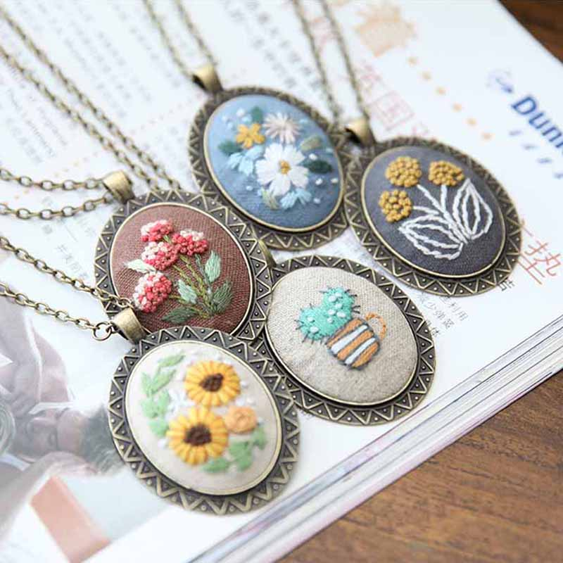 Necklace Embroidery Kits,Needlework Flower DIY Cross Stitch Sets With Hoop Handmade Swing Arts Craft Creative Gift Unfinished