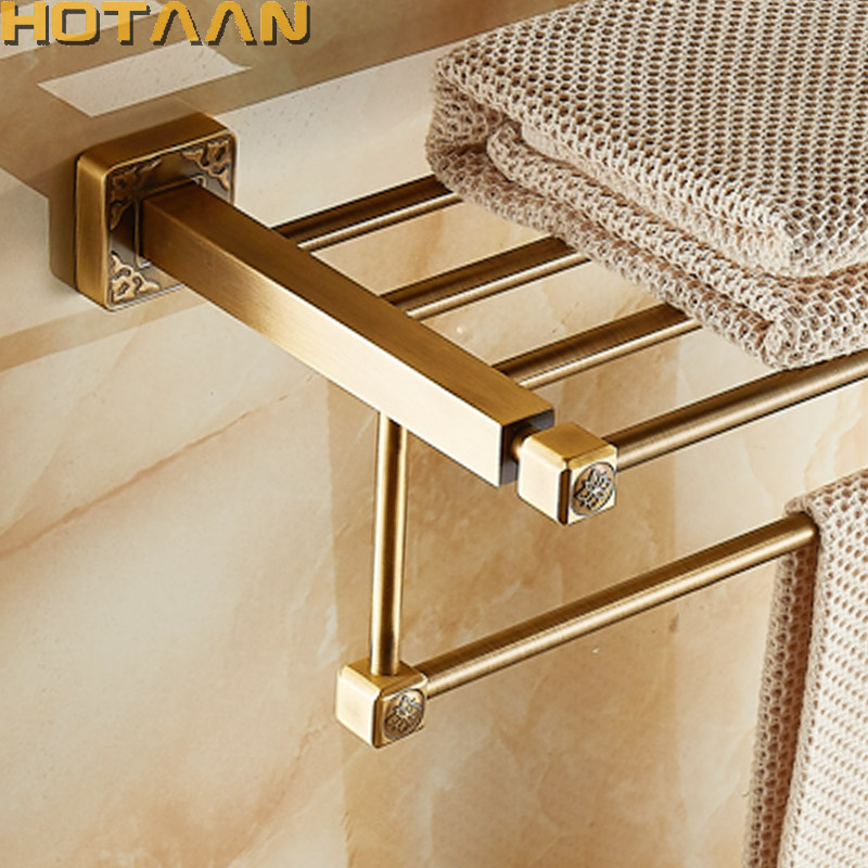 Aluminum Wall Mounted Square Antique Brass Bath Towel Rack Active Bathroom Towel Holder Double Towel Shelf Bathroom Accessories aluminum foldable antique brass bath towel rack active bathroom towel holder double towel shelf with hooks bathroom accessories