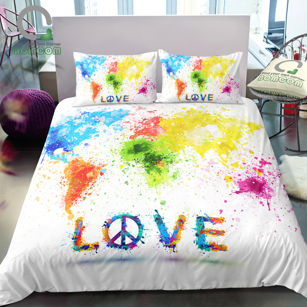 US $32.44 41% OFF|BOMCOM 3D Digital Printing Abstract Splashed Colored  World Map Love Peace Love World Duvet Cover Sets 100% Microfiber-in Bedding  ...