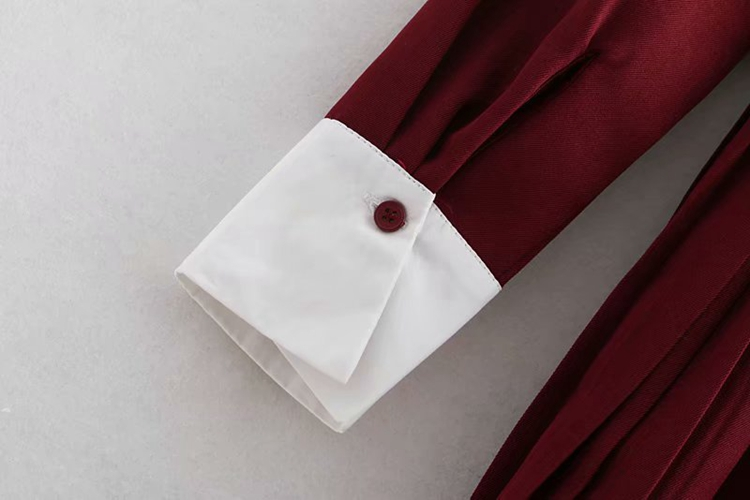 2019 New Basic Midi Dress Women splice Long Sleeve Office Shirt Dress Women spring Autumn Casual Pleated Dresses Female