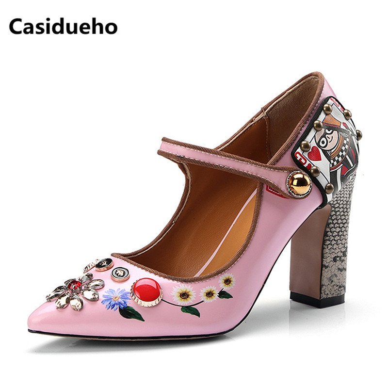 983c00c55d Casidueho Strap Women Pumps Pointed Toe Gladiator Sandals Women Thick High Heels  Shoes Woman Print Leather
