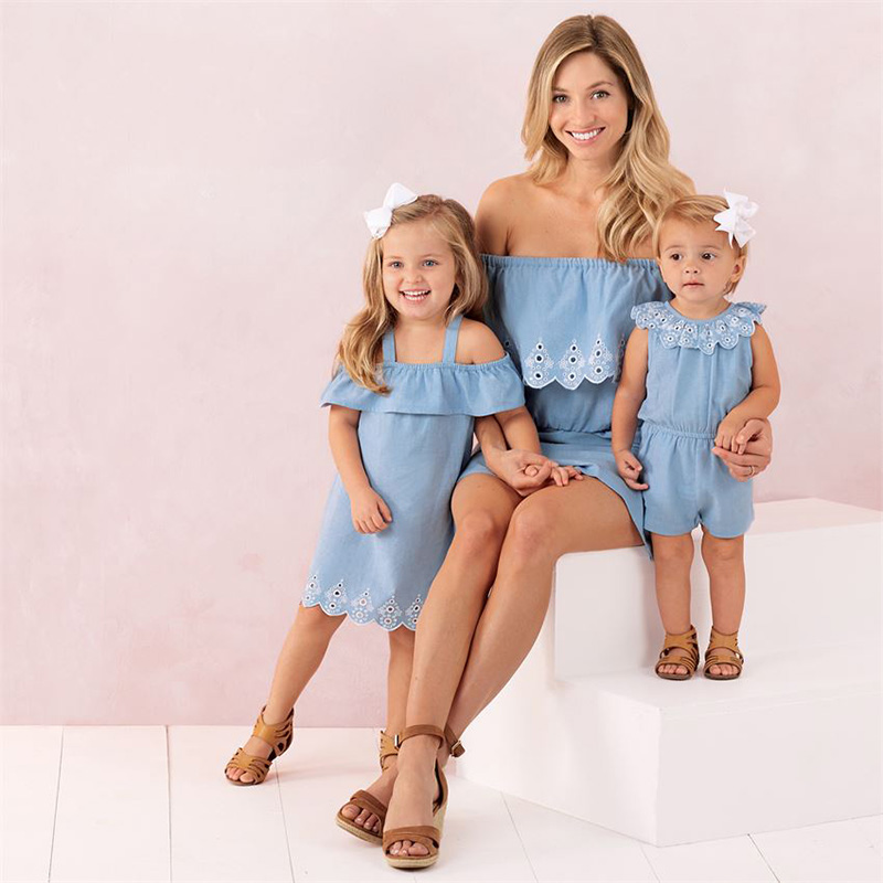 Fashion Summer Family Matching Outfit Mother Daughter Clothes Dress Off Shoulder Cute Princess Baby Girls Lace Bodysuits