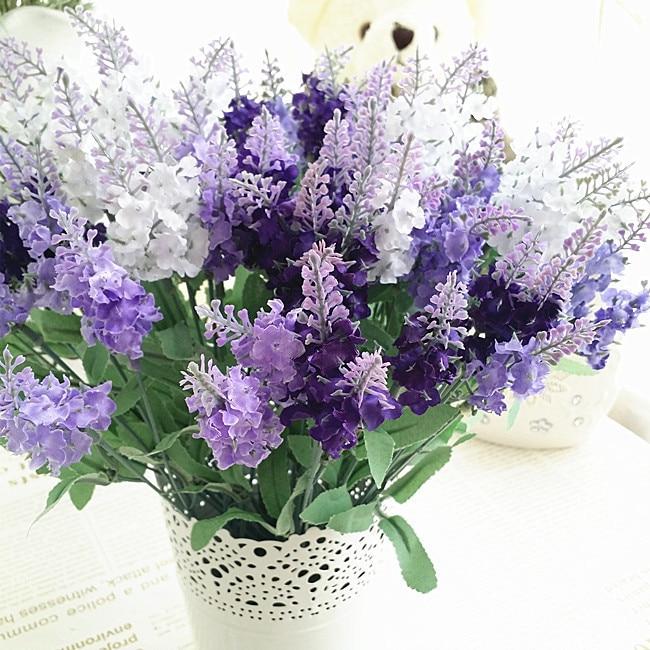 10 Jefes Artificial Lavanda Seda Flor Decoración Del Hogar Nuevas Flores Artificiales de Escritorio Planta Verde Plantas en maceta Envío Gratis