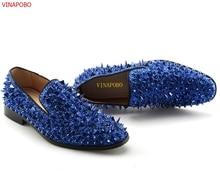 Vinapobo Runway Fashion Top Quality Men Shoes Blue Sequin Spikes Men Loafers Rivets Casual Dress Shoes Men Slip On Flats Suede цена в Москве и Питере