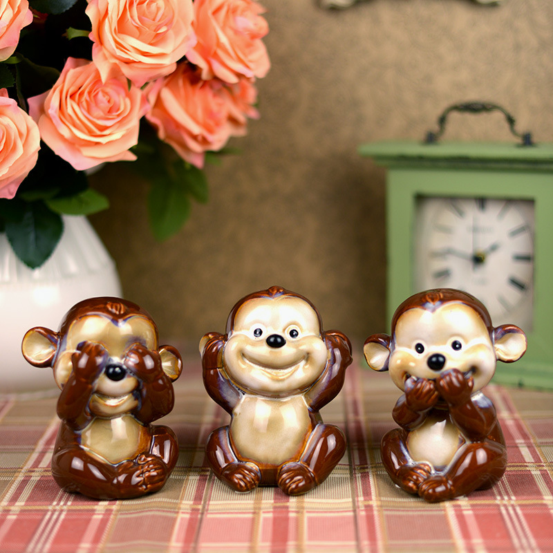 3pcs cute expression ceramic monkey figurines lovely home decor crafts porcelain room decoration ornament for boys in Figurines Miniatures from Home Garden
