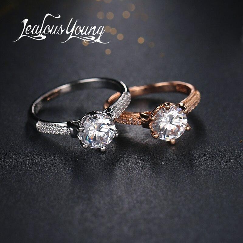 Mode-ring Solitaire Runde 4ct Cz Steine Ring Weiß/rose Gold Gefüllt Frauen Verpflichtungs-hochzeits-band-ring Ar028 Phantasie Farben Schmuck & Zubehör