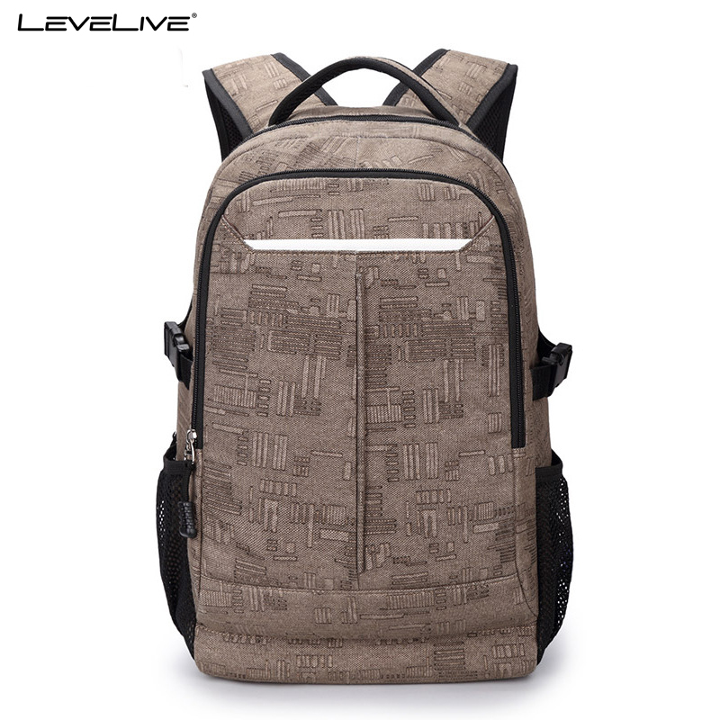 LeveLive Large Capacity Casual Waterproof Canvas Travel Backpack Bag Men 17inches Laptop Backpack Fashion Male Mochila Masculina edgy trendy casual canvas backpack men large capacity simple backpack fashion hook buckle travel bag durable rucksack
