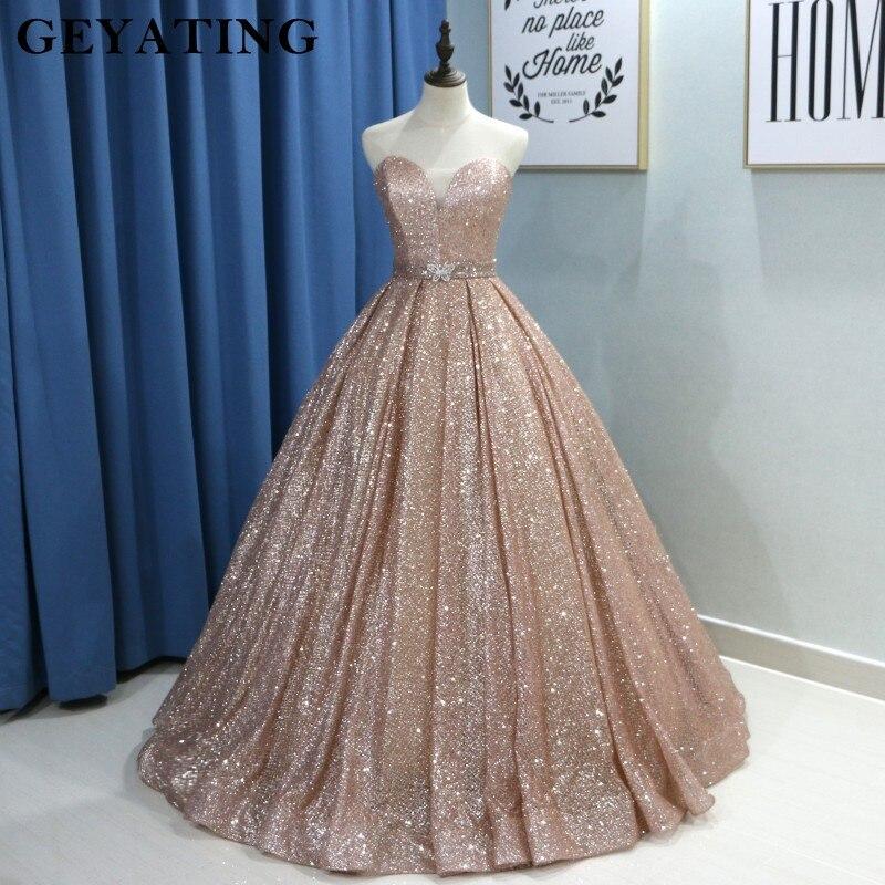 Champagne Glitter Ball Gown Prom Dresses Luxury 2019 Sweetheart Corset Floor Length Gowns Long Party Dress Vestideos de festa gown