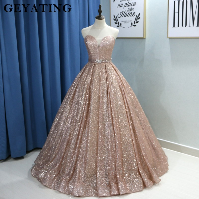 Champagne Glitter Ball Gown Prom Dresses Luxury 2019 Sweetheart Corset Floor Length Gowns Long Party Dress Vestideos De Festa