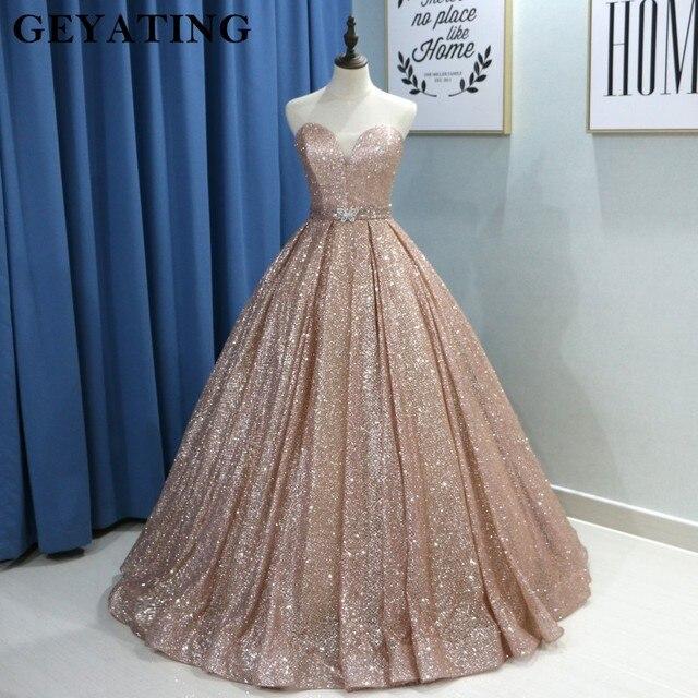 Champagne Glitter Ballkleid Prom Kleider Luxus 2020 Schatz Korsett Bodenlangen Kleider Lange Party Kleid Vestideos de festa