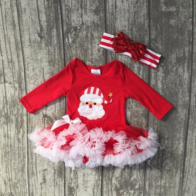 18f69d20f Fall/winter baby girls Christmas day Santa Claus long sleeve infants red  white soft tutu romper party dress with match headband