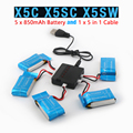 Syma X5SW X5SC X5C RC Quadcopter Battery Ultra-high Capacity 3.7V 850mAh Lipo Battery and 5 in 1 Cable Spare Parts