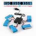 X5SW X5SC Syma X5C RC Quadcopter Bateria Ultra-alta Capacidade 3.7 V 850 mAh Lipo Bateria e Bateria de 5 em 1 Cabo de Peças De Reposição