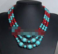 FREE SHIPPING>>>@@ > 1087 BEADED JEWELRY WITH RED CORAL,BEADWORK NECKLACE,BIB NECKLACE