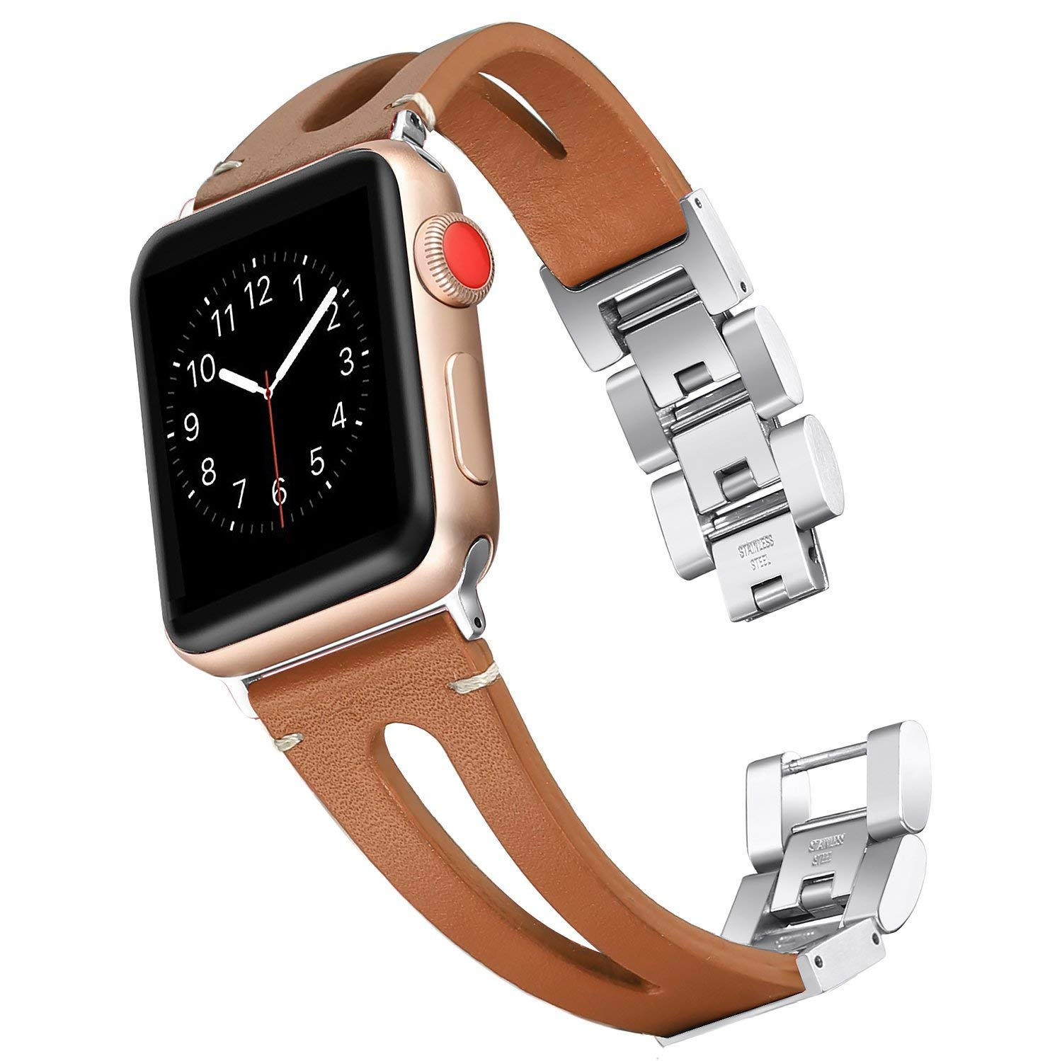 JANSIN Genuine Leather loop band for Apple Watch Bands 38mm 42mm 40mm 44mm Bracelet strap for iWatch Series 5 4 3 2 1 women/Men