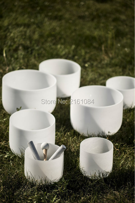 6-12 Chakra Tuned Set of 7 Frosted Quartz Crystal Singing Bowl with free suede and o-ring