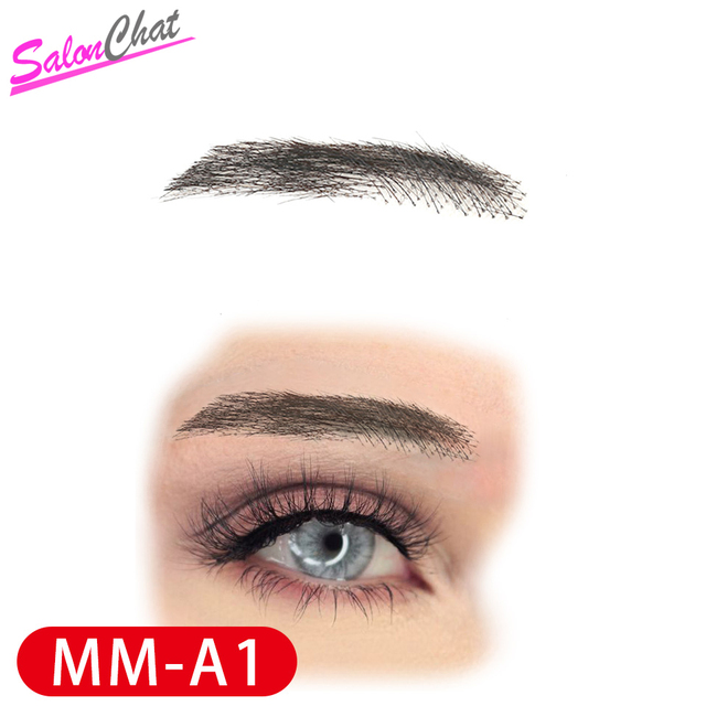 SalonChat Hand Tied False Lace Eyebrows 100% Human Hair Eyebrows human Hair invisible Handmade Fake Eyebrows For Women/Man