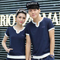 Lovers slim summer casual  Sweatshirts   set class service short-sleeve  the trend of lovers design