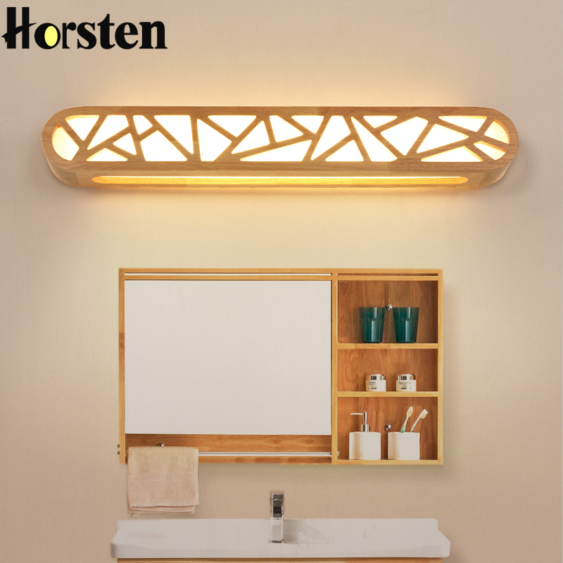 Nordic japanese led lamp wood wall lamp simple living room - Traditional bathroom mirror with lights ...