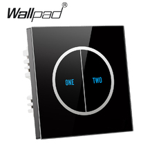 Free Shipping 2 gangs 2 way Black Tempered Glass Touch Wall Light Switch Free customize button 110V~250V 12v micro touch switch new arrival 2 gangs 1 way crystal glass led black diy touch light wall switch touch switch free customize words free shipping
