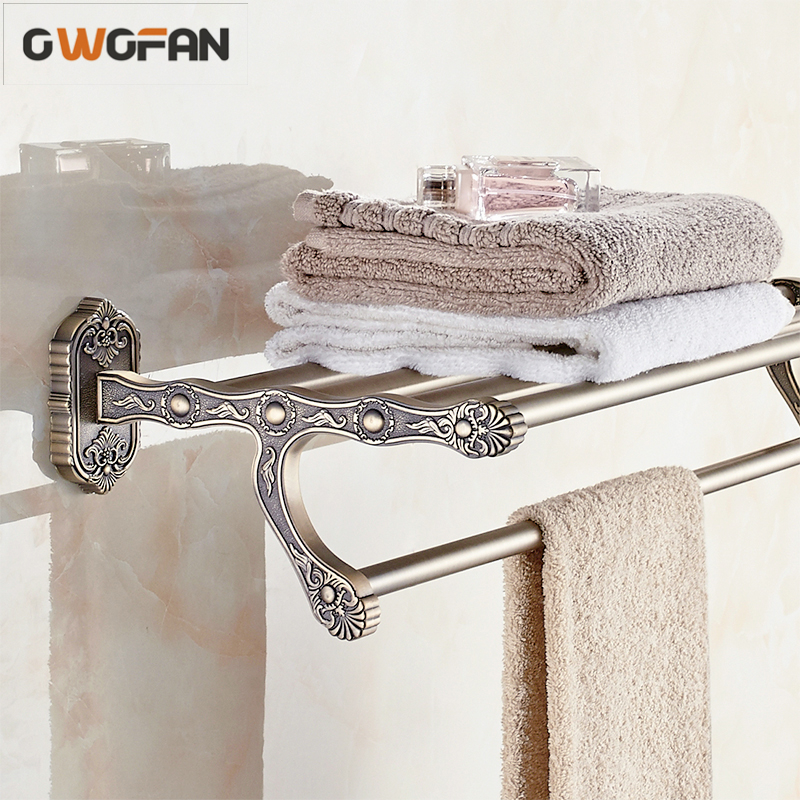 Antique Gold Finish Double Towel Racks Bathroom Shelves Carved Accessories Towel Bar Wall Mounted Towel Rail Bath Hanger 3312 free shipping towel racks luxury bathroom accesserries golden finish bath towel shelves towel bar bath hardware db008k 1