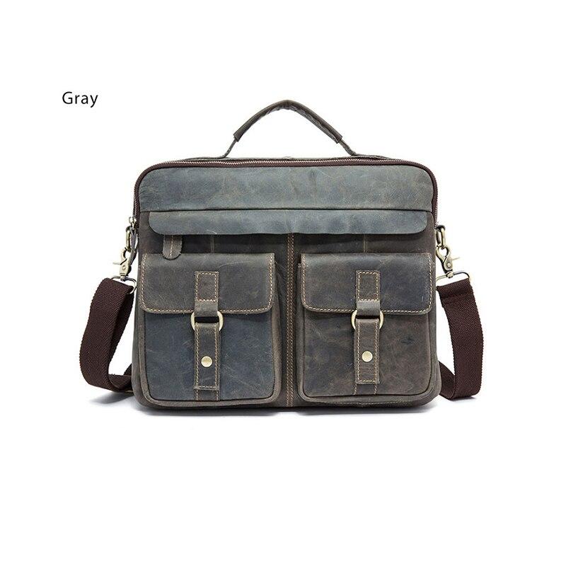 """Men/'s 18/"""" Cowhide Leather Shoulder Bag Laptop Crossbody Messenger Satchel Bag"""