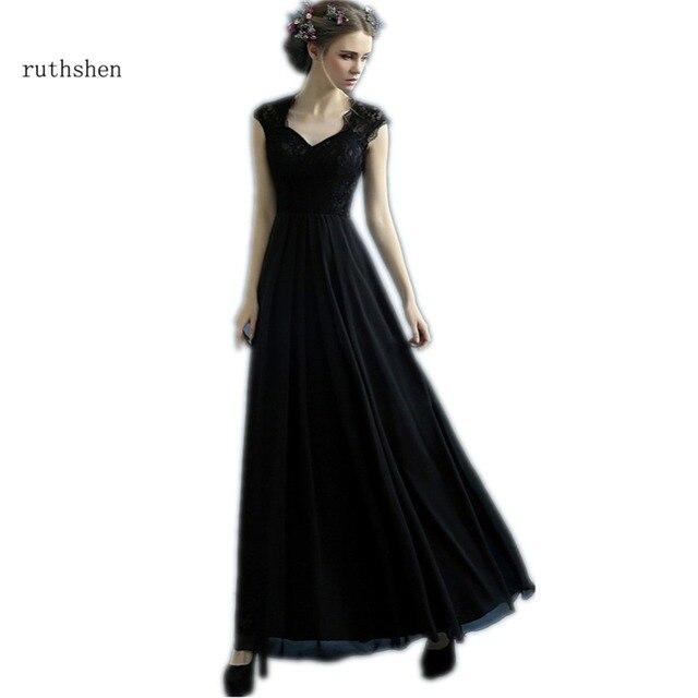Ruthshen Черное вечернее платья дешевые 2018 кружевной топ драпированные  Кепки рукава дамы формальное платье для выпускного b4815d0c77eb7