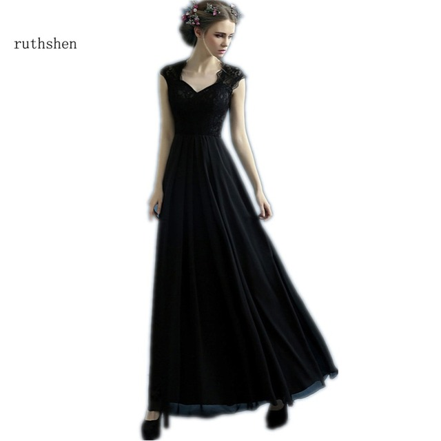 b763e6ac29 US $60.19 14% OFF|ruthshen Black Evening Dresses Cheap 2018 Lace Top Draped  Cap Sleeves Ladies Formal Prom Dress Gowns Special Occasion Dress-in ...