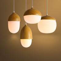 Scandinavian Style pendant lamps Glass Bar Cafe Restaurant Wooden Cute Nuts Light Pastoral pendant lights CL