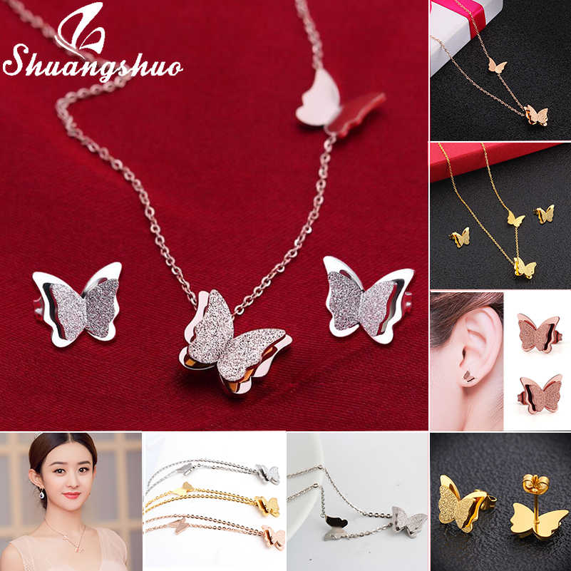 Shuangshuo Butterfly Pendants Necklaces Chain Necklace For Women Choker Necklace Stainless Steel Vintage collier femme