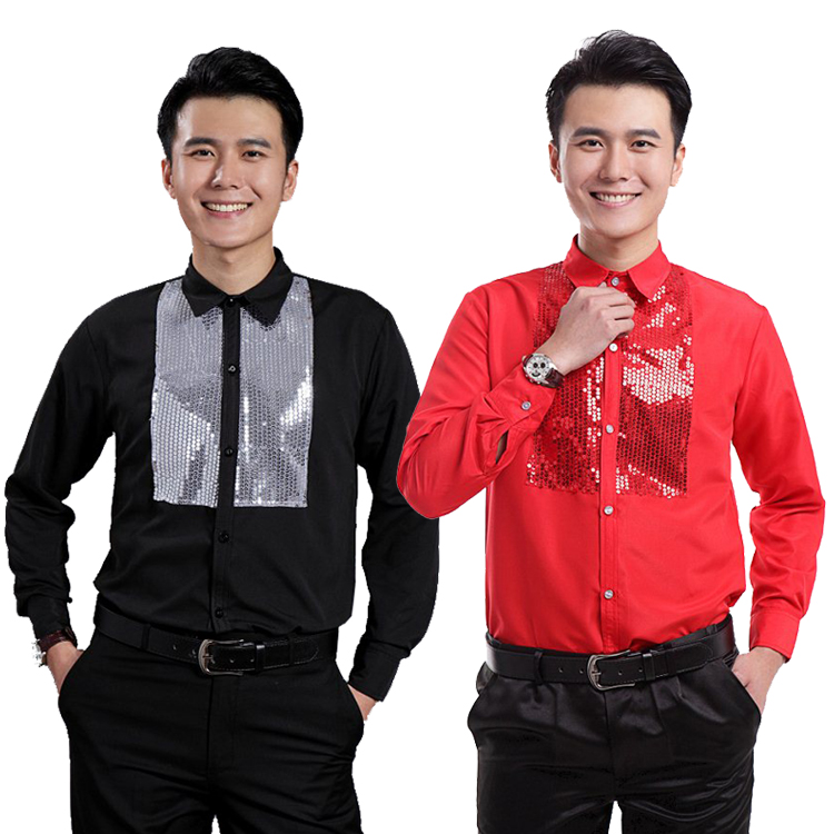 2017 Male costume paillette long sleeve shirt chorus clothing black and red men s clothing formal