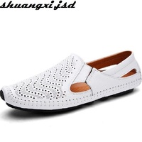 Mens Sandal Genuine Leather Shoe Summer Breath Luxury Driving Shoes Slip On Casual Male Loafers Hollow