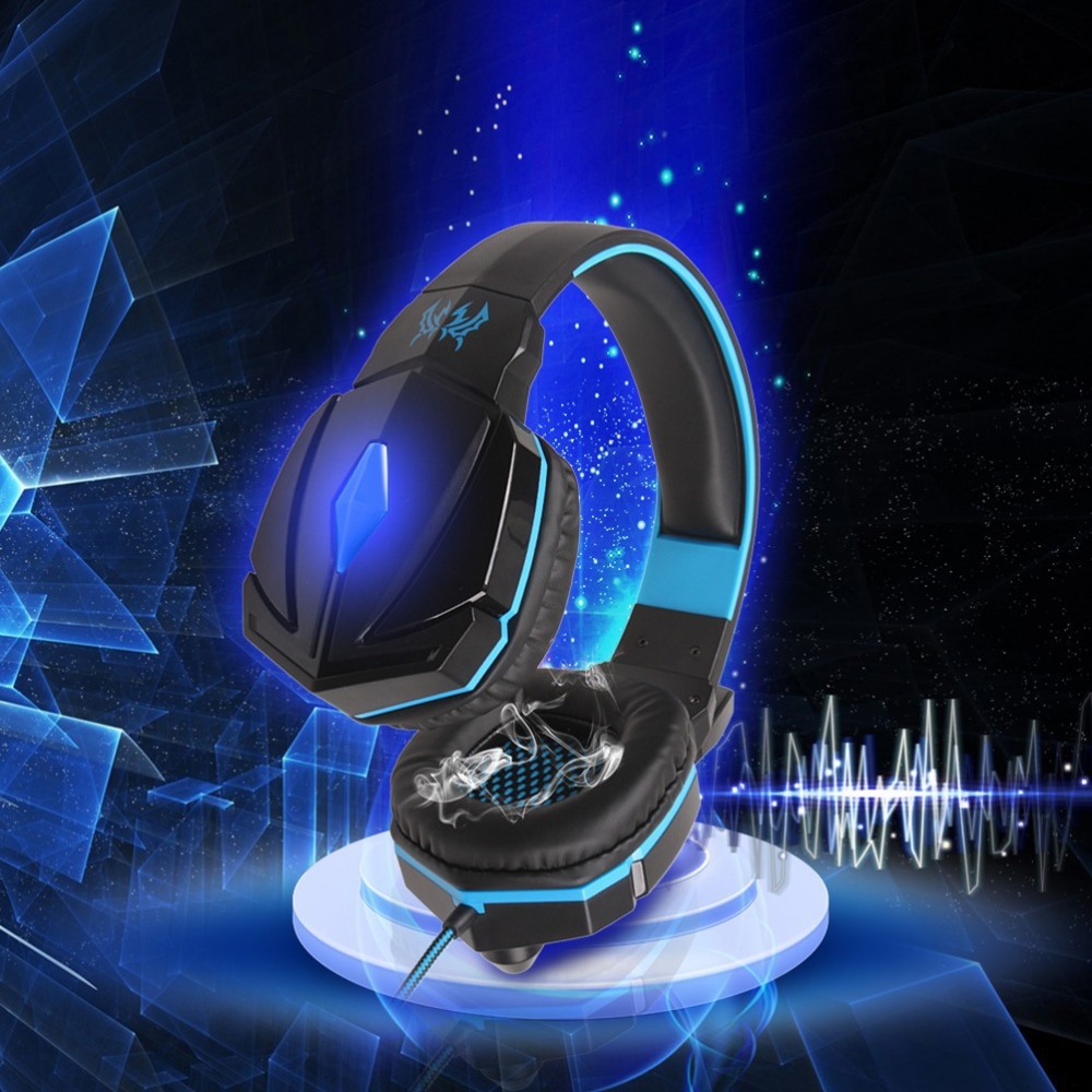 Blue EACH G4000 Gaming Wired Noise Isolating Headband Headband With Mic Stereo Bass LED Light Auriculares Headset For PC Gamer each g8200 gaming headphone 7 1 surround usb vibration game headset headband earphone with mic led light for fone pc gamer ps4