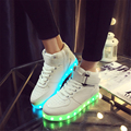 2017 LED Colorful  high-top shoes  luminous couple models shoes  USB charging emitting shoes High-quality