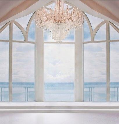 Белый стиль фотографии фонов окно жениться партия фотография фон ткань фото фон для прополки 5x7ft CM3976