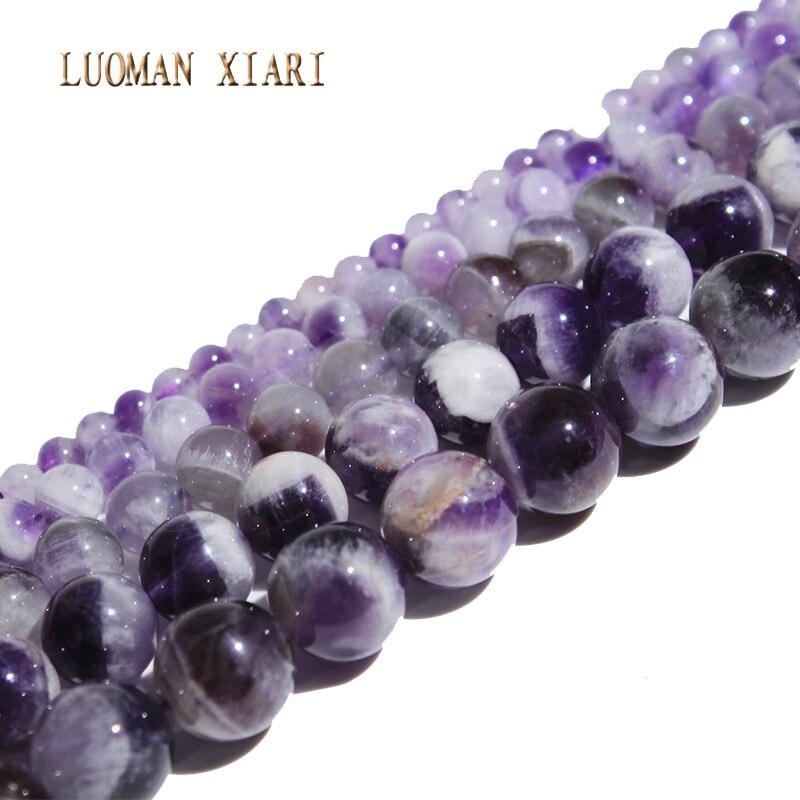Collezione Qui Luoman Xiari Aaa + Tondo Natural Ametista Pietra Beads Per Monili Che Fanno Fai Da Te Collana Braccialetto Materiale 4/6/8/10mm Strand 15''