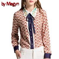 By Megyn Women Blouses Plus Size 3XL Women Shirts Long Sleeve Shirt Feminine Bow Necktie Retro