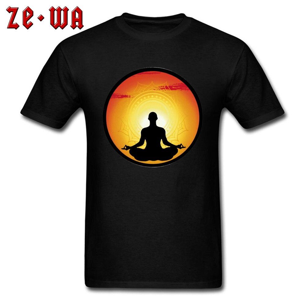 Cool Men T-shirt Spirituality Meditation Adult T Shirt Sunset Tops Printed 100% Cotton Tshirts Custom Om Tees Fashion Designer