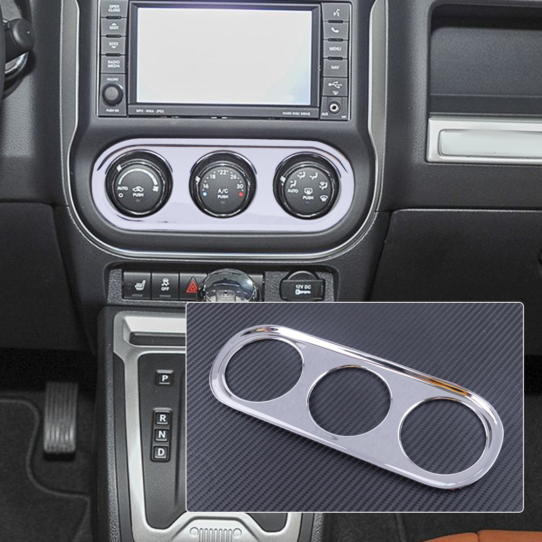 DWCX ABS <font><b>Chrome</b></font> Car Air Condition Adjust Switch Button Control Knob Cover Frame Trim Sticker Fit For <font><b>Jeep</b></font> <font><b>Compass</b></font> image
