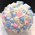 Высокое качество океан searies свадебный букет невесты морская звезда shell перл кристалл алмаза букет для венчания пляжа диаметр 22 см