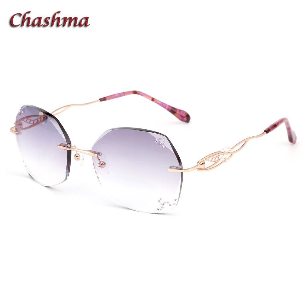 Chashma marque lentilles colorées myopie lunettes de soleil cadre lunette de vue femme sans monture titane lunettes Prescription lunettes de soleil