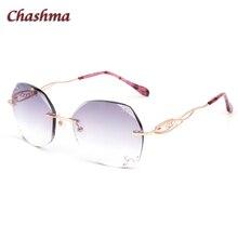 Chashma Brand Colored Lenses Myopia Sun Glasses Frame lunette de vue femme Rimless Titanium Spectacles  Prescription Sunglasses