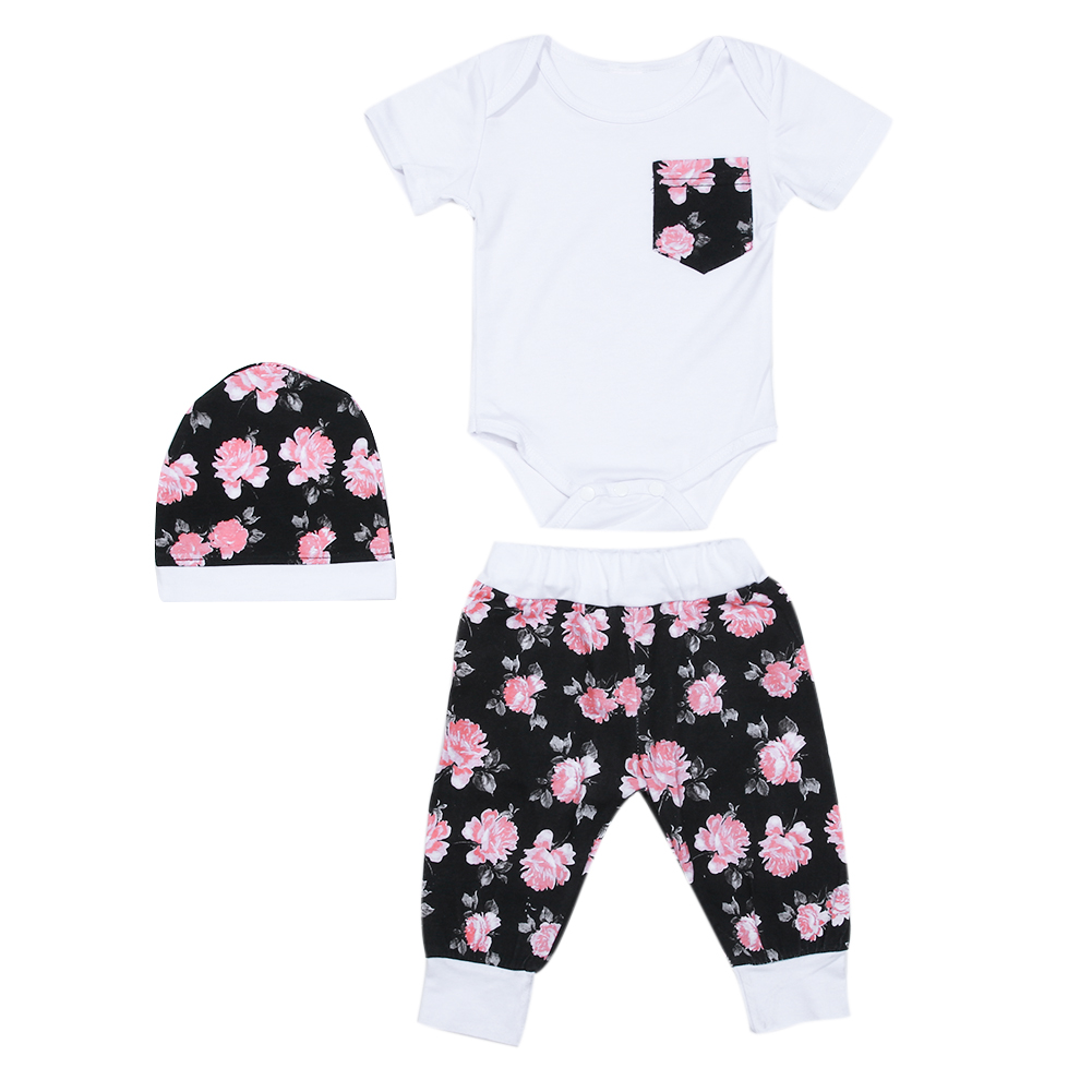 3pcs/set Baby Boys Girls Clothing Set Fashion Short Sleeve Floral Printed Romper+Long Pants Suit+Hat Summer Outfit Baby Costumes