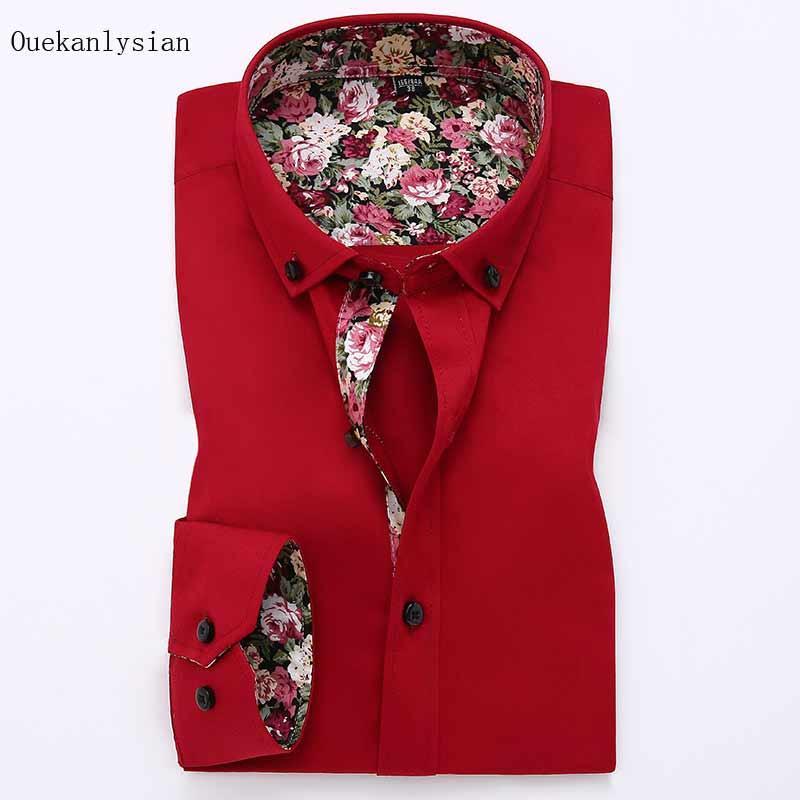 9f683862763169 Ouekanlysian Spring Inner Floral Long Sleeve Shirt Men Slim Fit Turn Down  Button Collar Shirt camisa masculina Red White Black