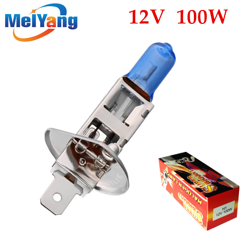 H1 100W 12V Halogen Bulb Super Xenon White Fog Lights High Power Car Headlight Lamp Car Light Source parking auto 2pcs halogen bulb h7 55w super xenon white fog lights h7 car headlight lamp high power car light source parking 6000k auto
