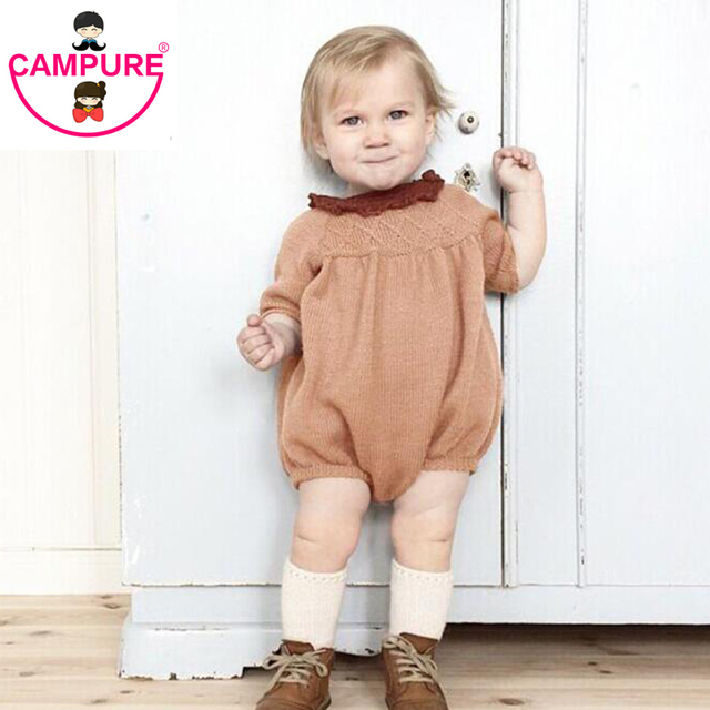 2016 New Baby Girls Knitted Dress Cotton Knit Crochet Orange/Blue Romper Kids Girls Autumn Winter Jumpsuit Romper Solid Clothes