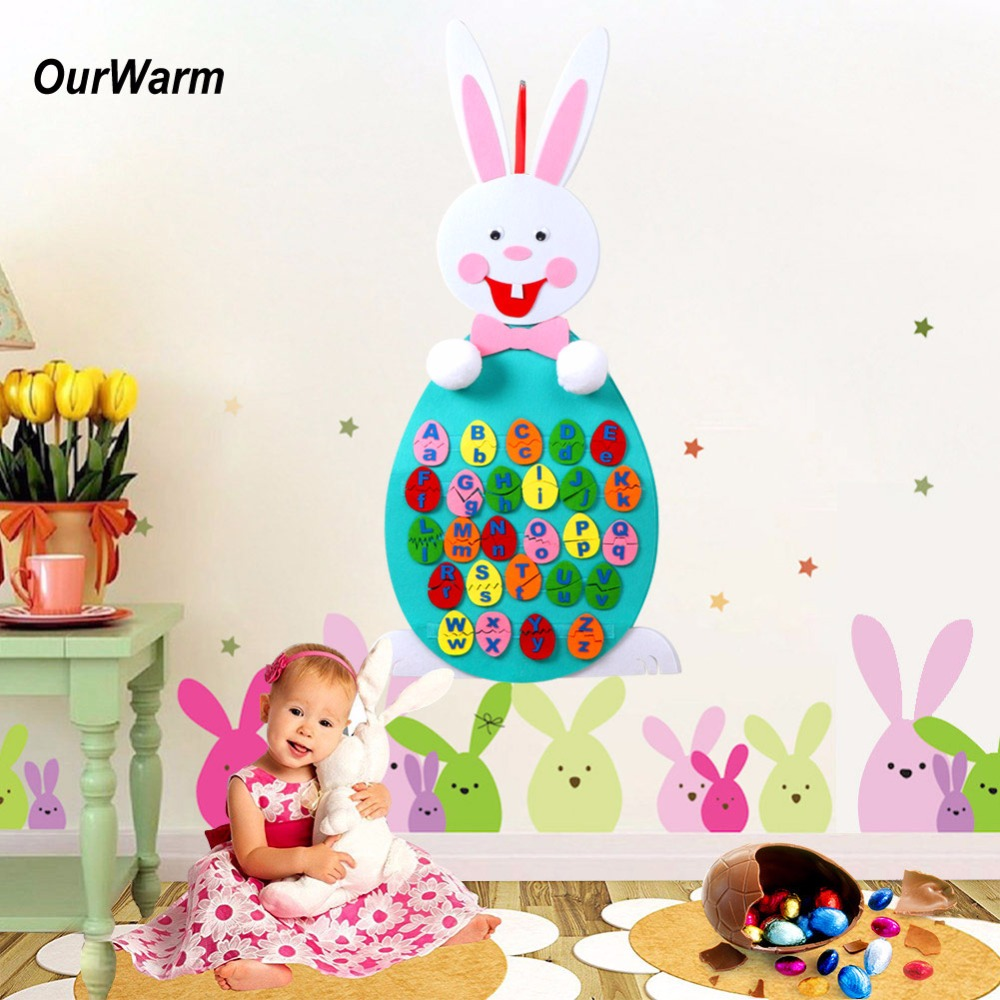 OurWarm 5pcs Happy Easter Decoration Easter Eggs Decor DIY Felt Easter Eggs Letter Match Puzzle Easter Gift for Kids DIY Crafts
